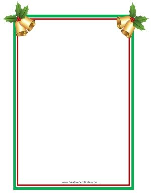 Clip art border with Christmas bells with holly on each of the top corners
