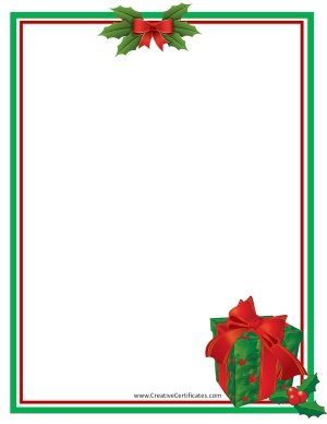 Green and red border with a clip art picture of a gift