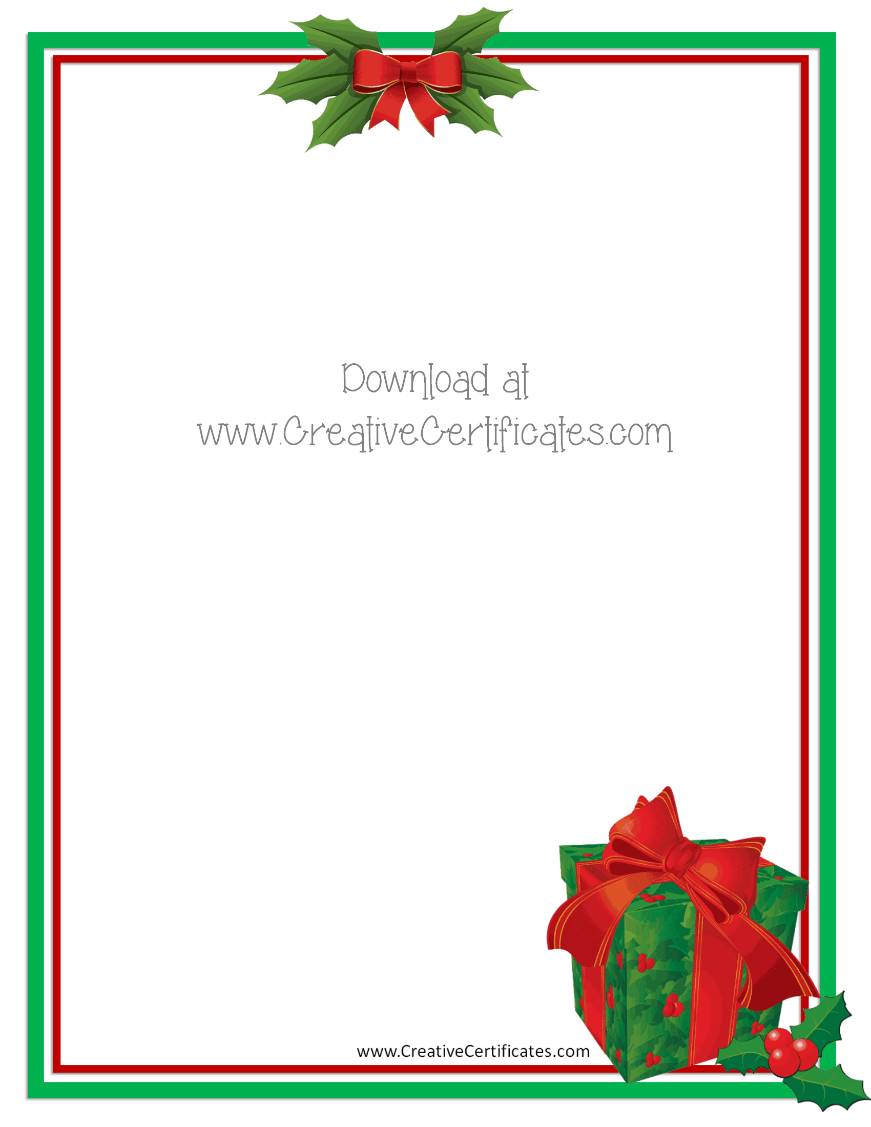 Free christmas border templates customize online then download green and red border with a clip art picture of a gift alramifo Image collections