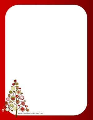Red border with a Christmas tree and a red page border