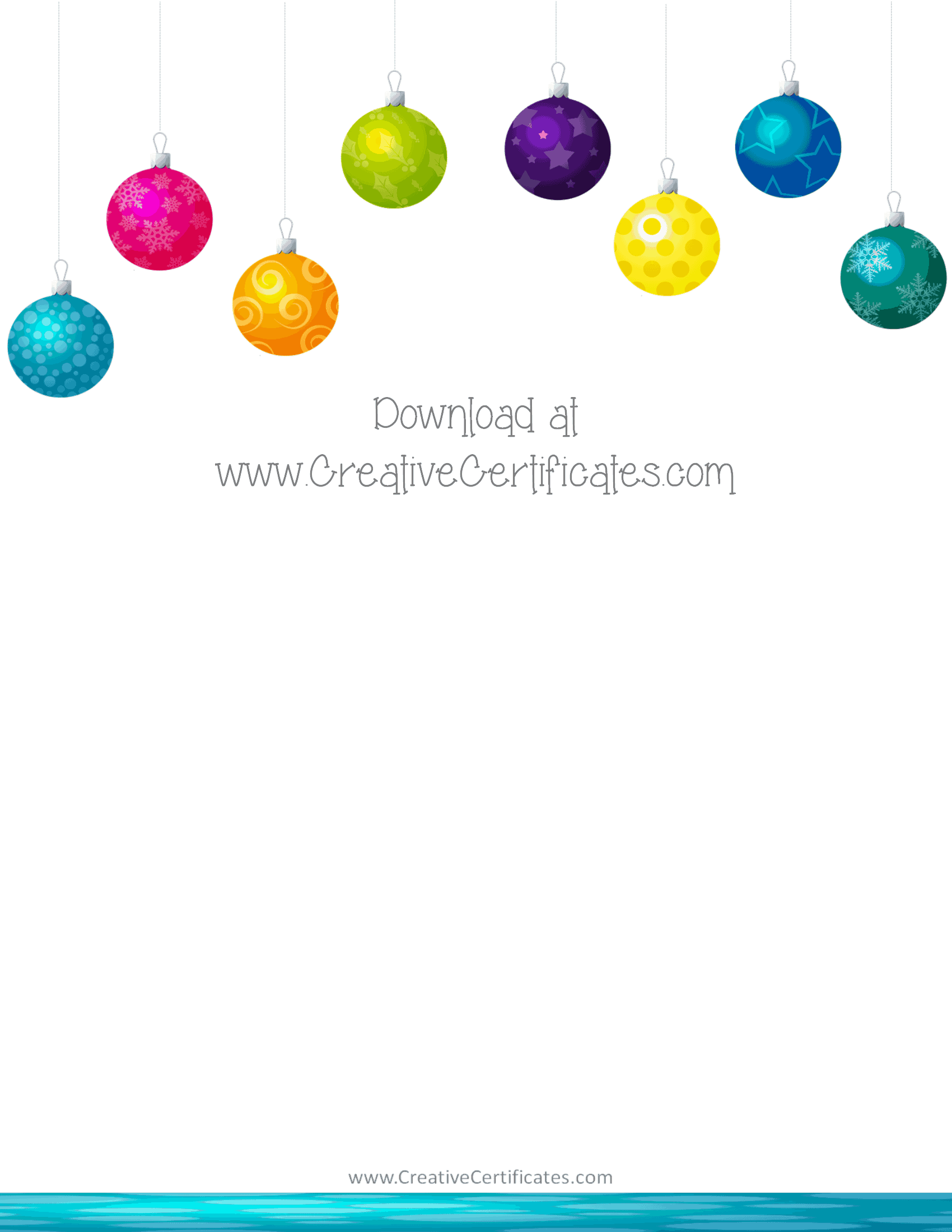 Free christmas border templates customize online then download christmas clipart border with hanging christmas ornaments in eight different colors voltagebd Gallery