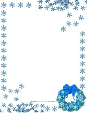 Blue snowflakes arranged around the page border