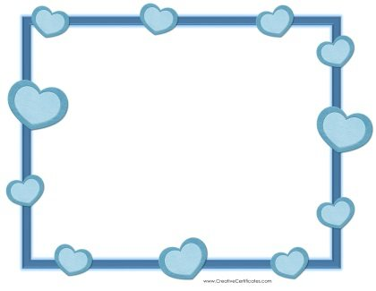 heart border with a blue stripe and blue hearts