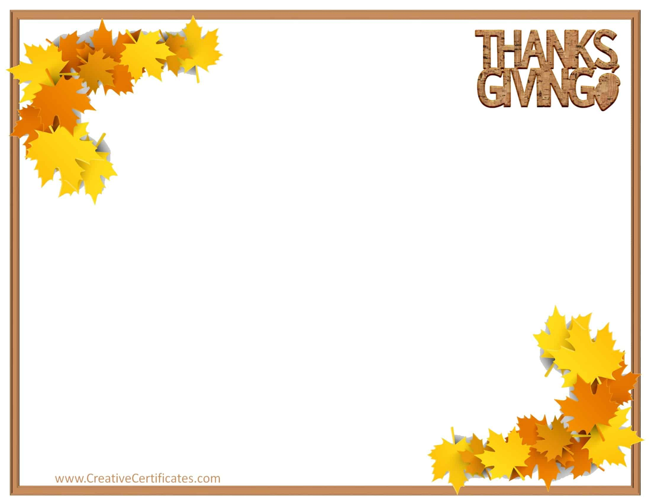 Free thanksgiving border templates customizable printable for Free thanksgiving templates for word