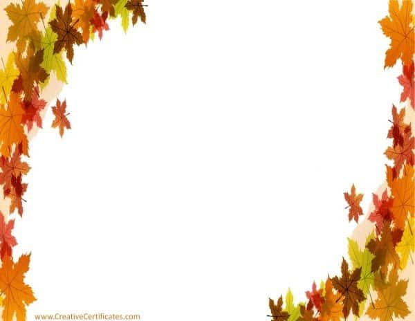 Autumn leaves on page border