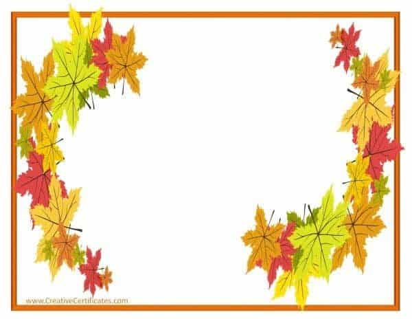 Orange border with Autumn leaves around the page
