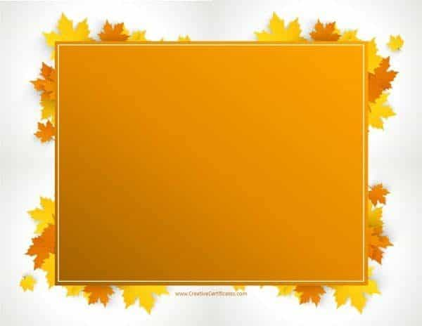 Free printable Thanksgiving border with an orange rectangle and leaves around it
