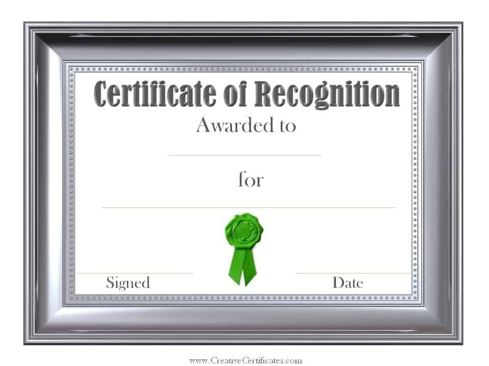 Recognition Template Certificate  Blank Certificate Of Recognition