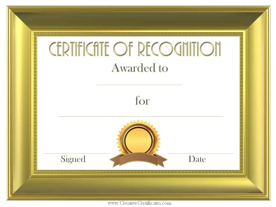 Free Certificate Of Recognition Template | Customize Online