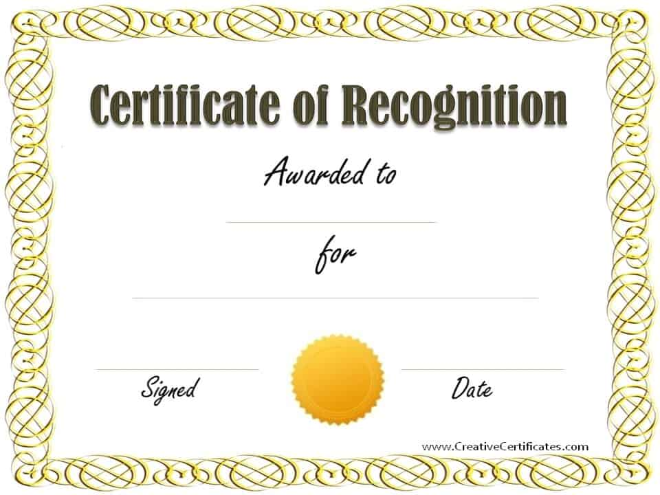 Free certificate of recognition template customize online sample recognition award pronofoot35fo Gallery