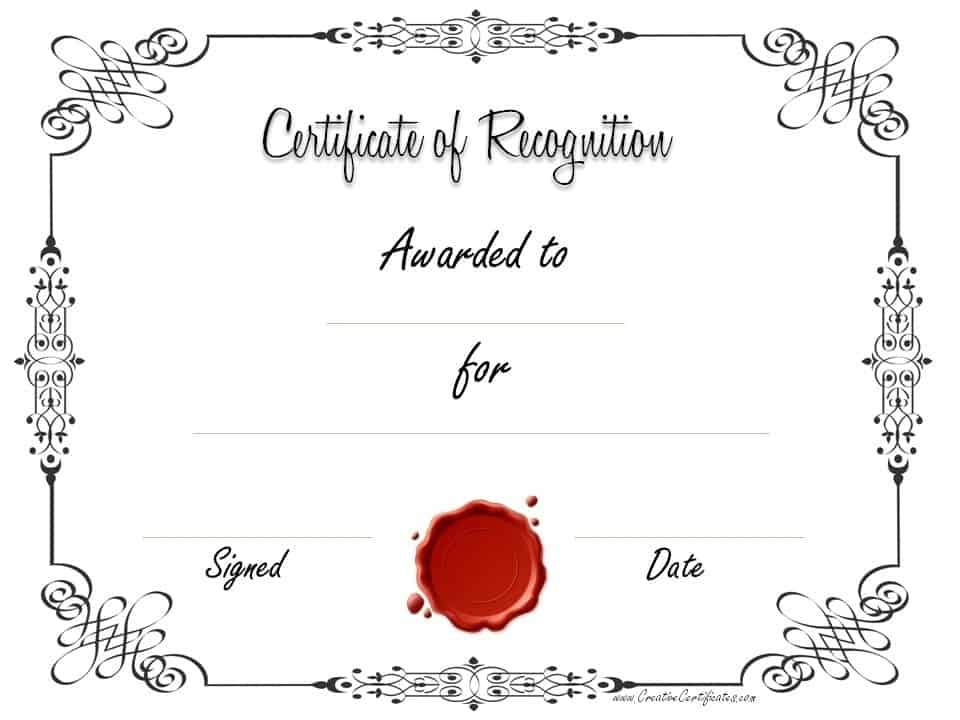 Free certificate of recognition template – Printable Certificate Templates