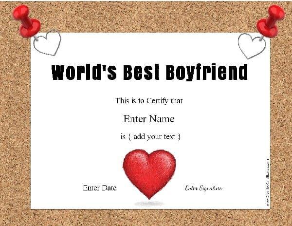 best girlfriend award certificate