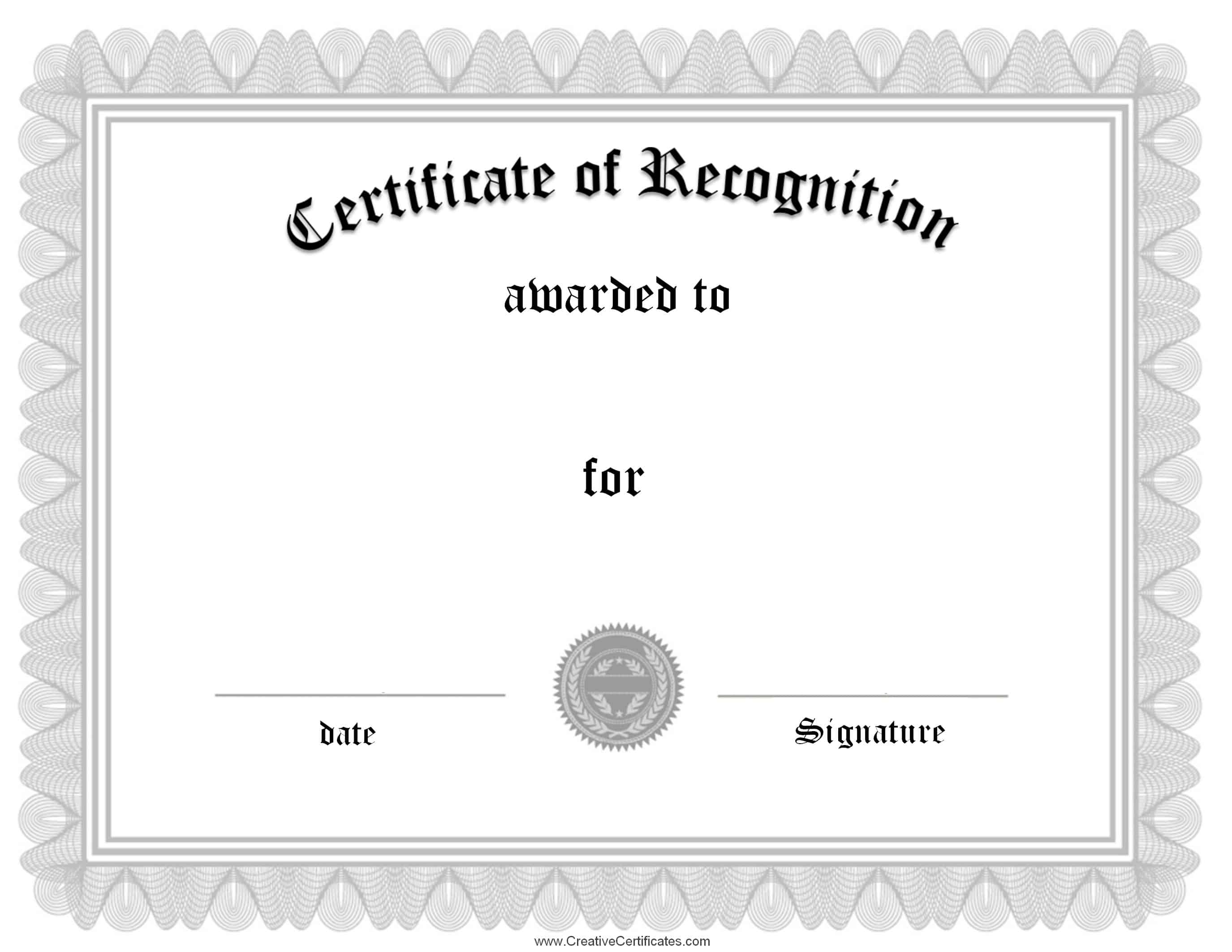 Free certificate of recognition template customize online silver 1betcityfo Image collections