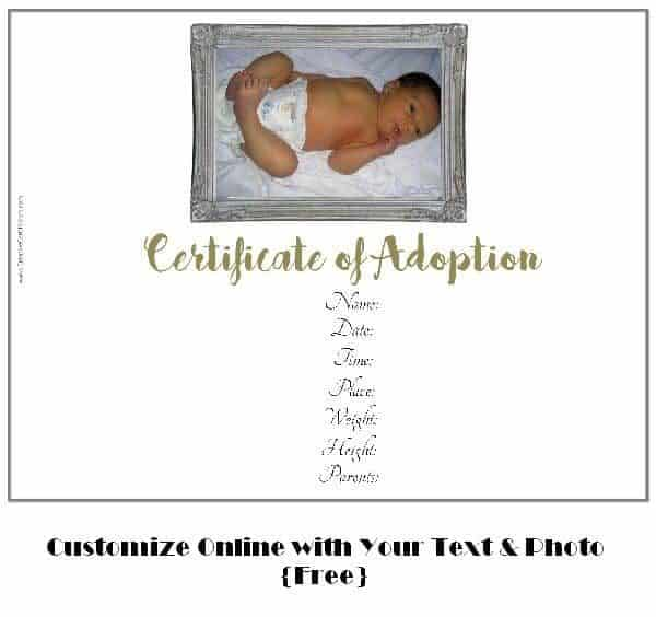 Free adoption certificate template customize online adoption certificate template yadclub Gallery