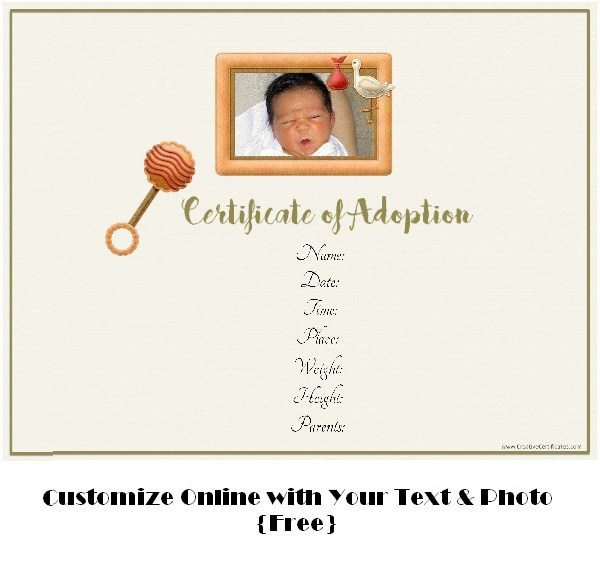 birth announcement template free online - free adoption certificate template customize online