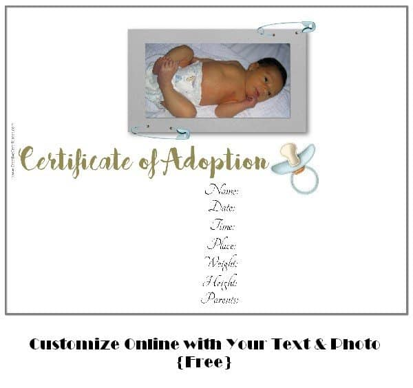 Free adoption certificate template customize online free adoption certificate template yadclub Gallery