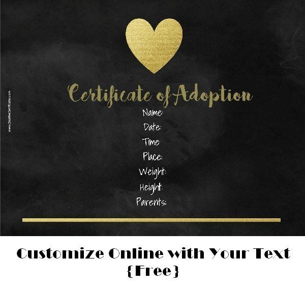 chalkboard adoption certificate template (text can be customized)
