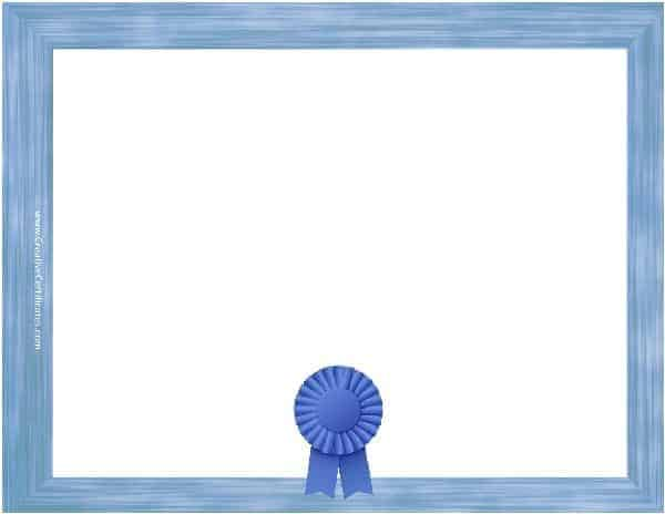Free blank certificate print blank or customize online free blank certificate template with a blue border and a blue award ribbon yadclub Images