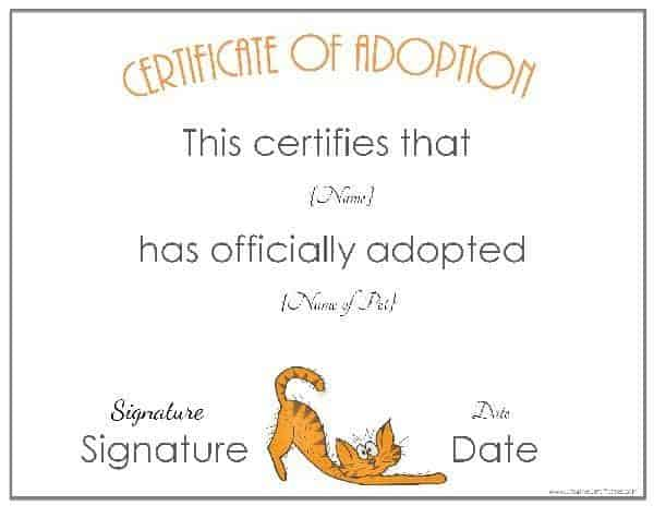 Free adoption certificate template customize online pet yelopaper Gallery
