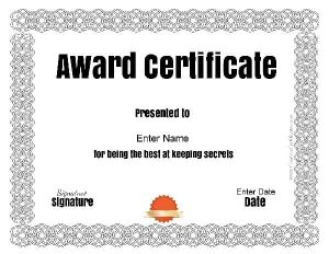 funny certificate