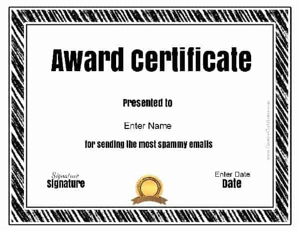 Funny awards funny award ideas funny award certificate yelopaper Image collections