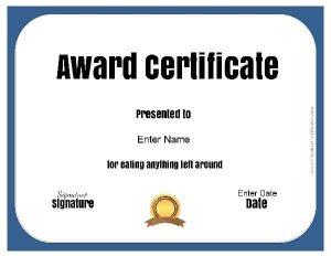funny award certificate