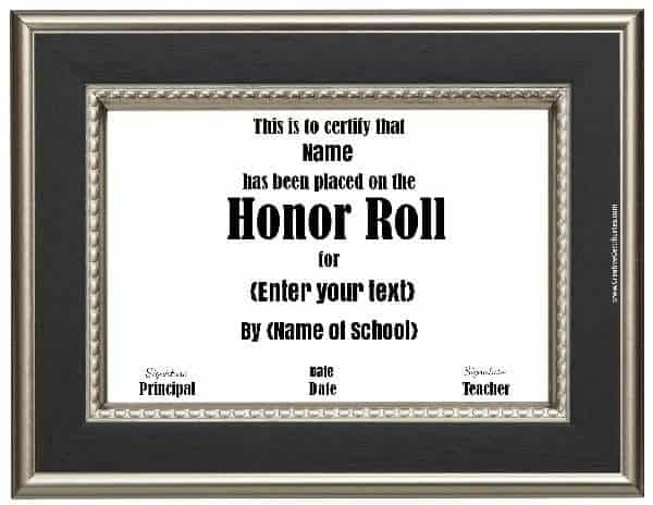 Free honor roll certificates customize online school certificate with a black and silver frame yadclub Gallery