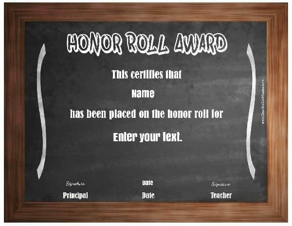 Free Honor Roll Certificates - Customize Online