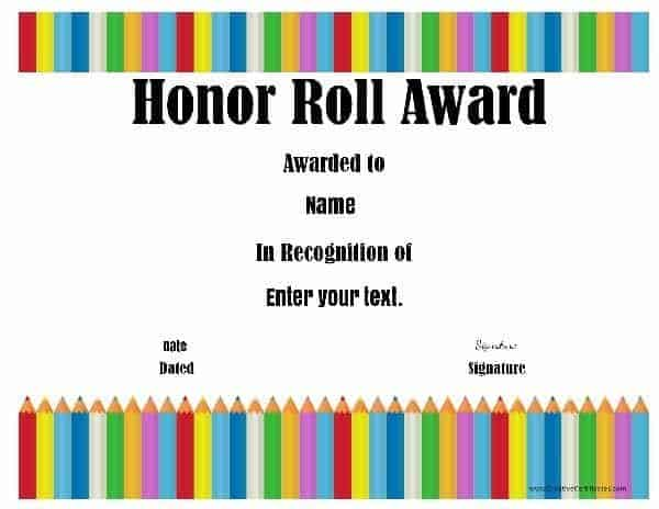 honor roll certificate with a line of color pens in the background