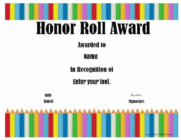 Free Honor Roll Certificates Customize Online