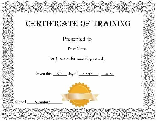certificate of training