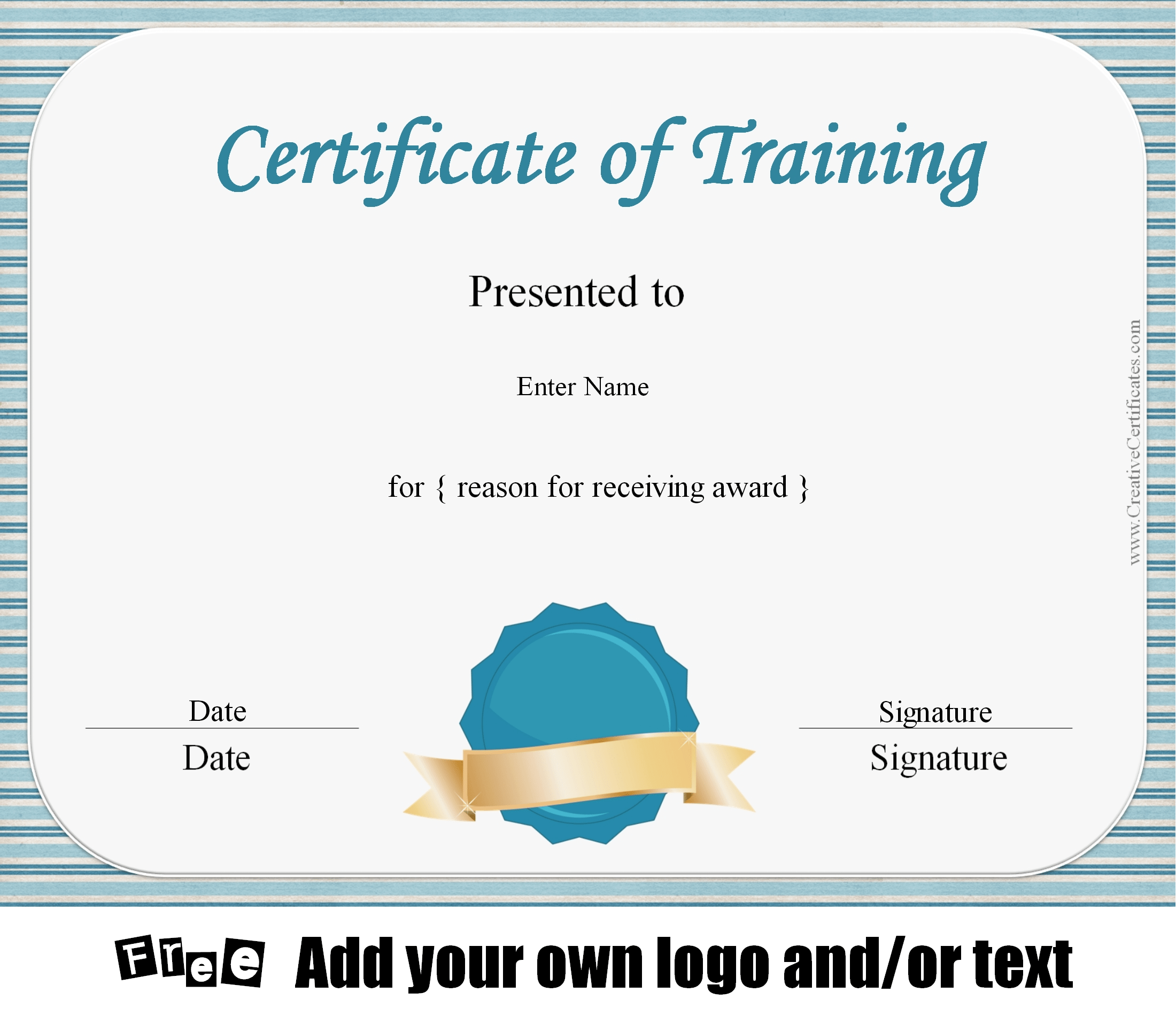 Free certificate of training template customizable for Training certificate template free