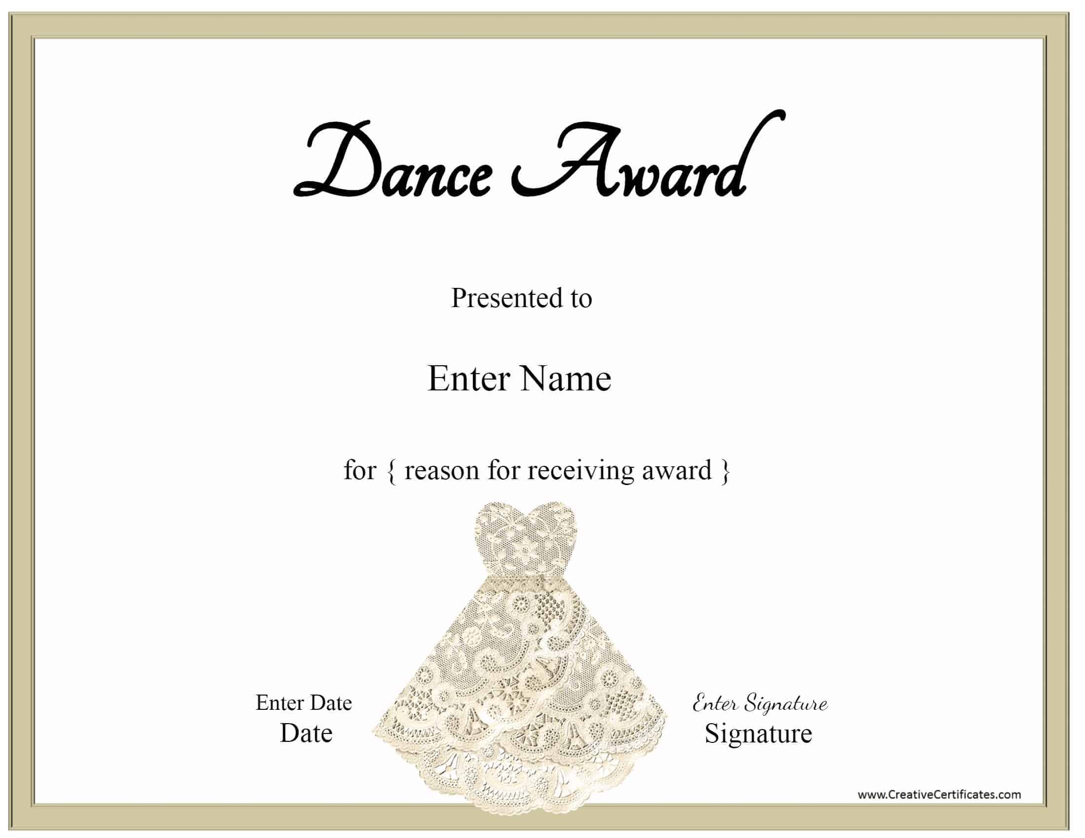 Free dance certificate template customizable and printable ballet certificate with a picture of a lace dress yelopaper Choice Image