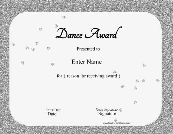 silver glitter ballet awards