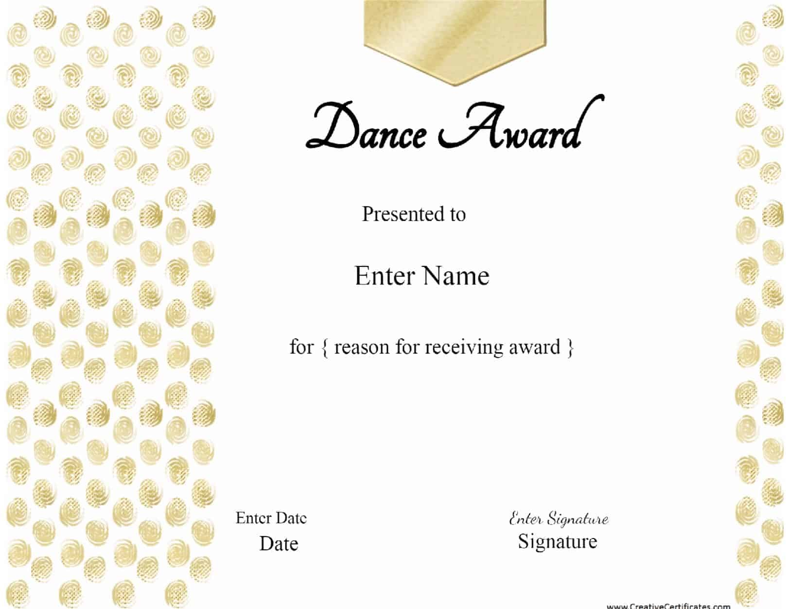 Free Dance Certificate Template Customizable And Printable