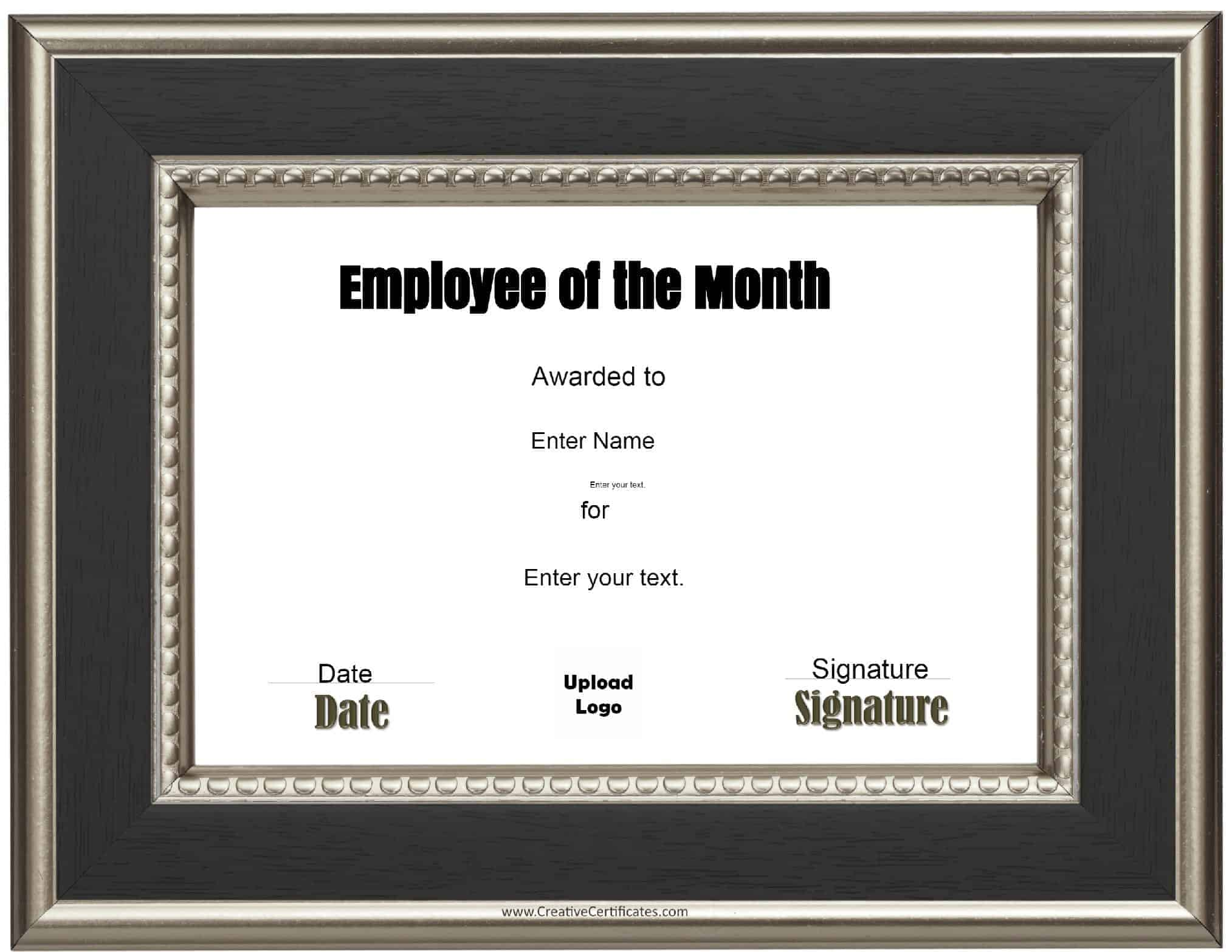 Employee Certificate Templates Free Free Custom Employee Of The Month Certificate