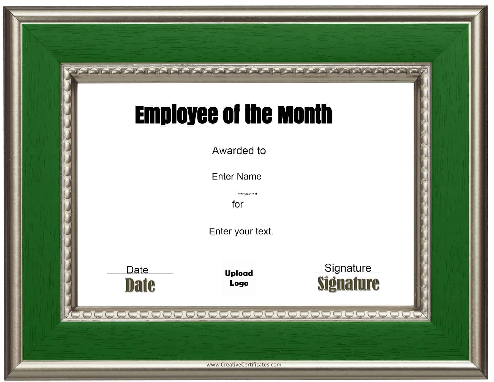 Free custom employee of the month certificate printable award plaque xflitez Images