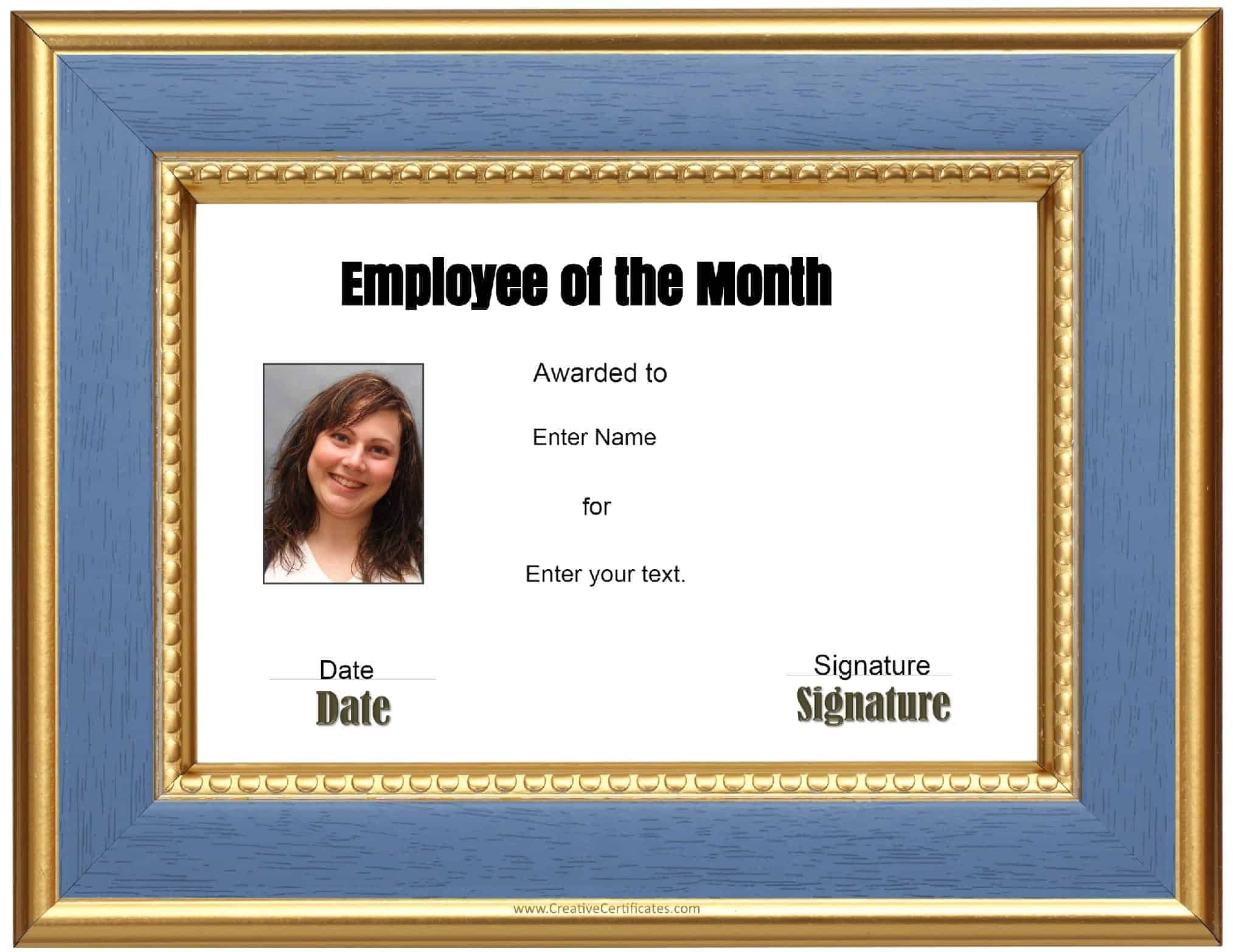 employee of the month template free custom employee of the month certificate 21489 | employee of the month certificate and photo 1
