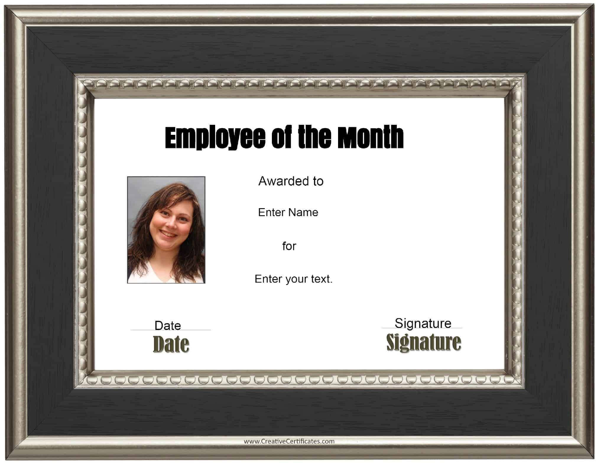 Employee Of The Month Certificate · Green · Gold · Black  Free Employee Of The Month Certificate Template