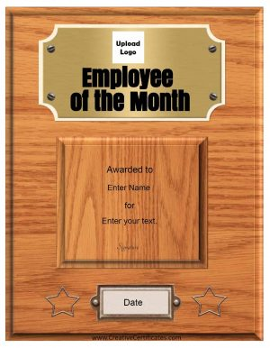 photo relating to Printable Employee of the Month Certificates named Absolutely free Personalized Staff of the Thirty day period Certification