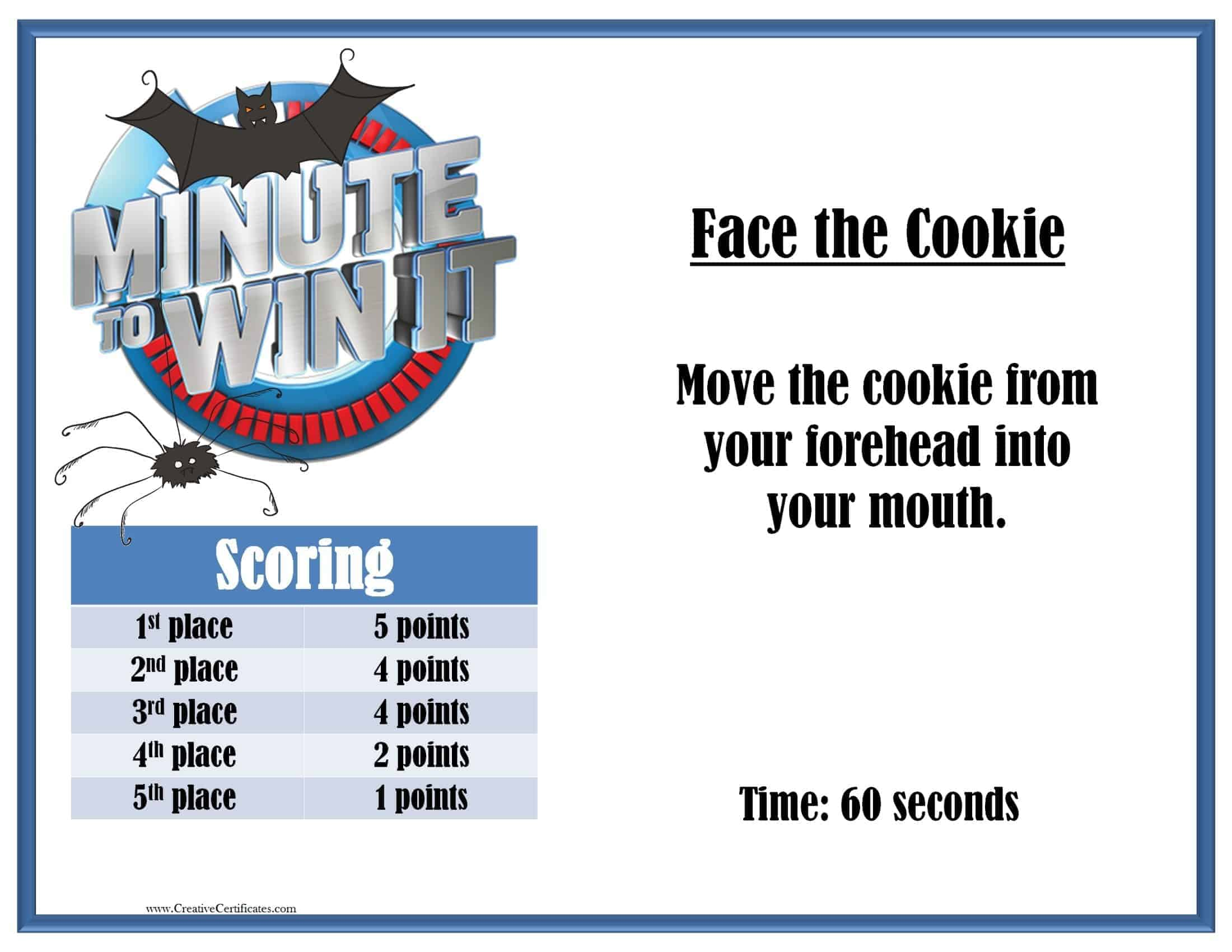 face the cookie minute to win it instructions