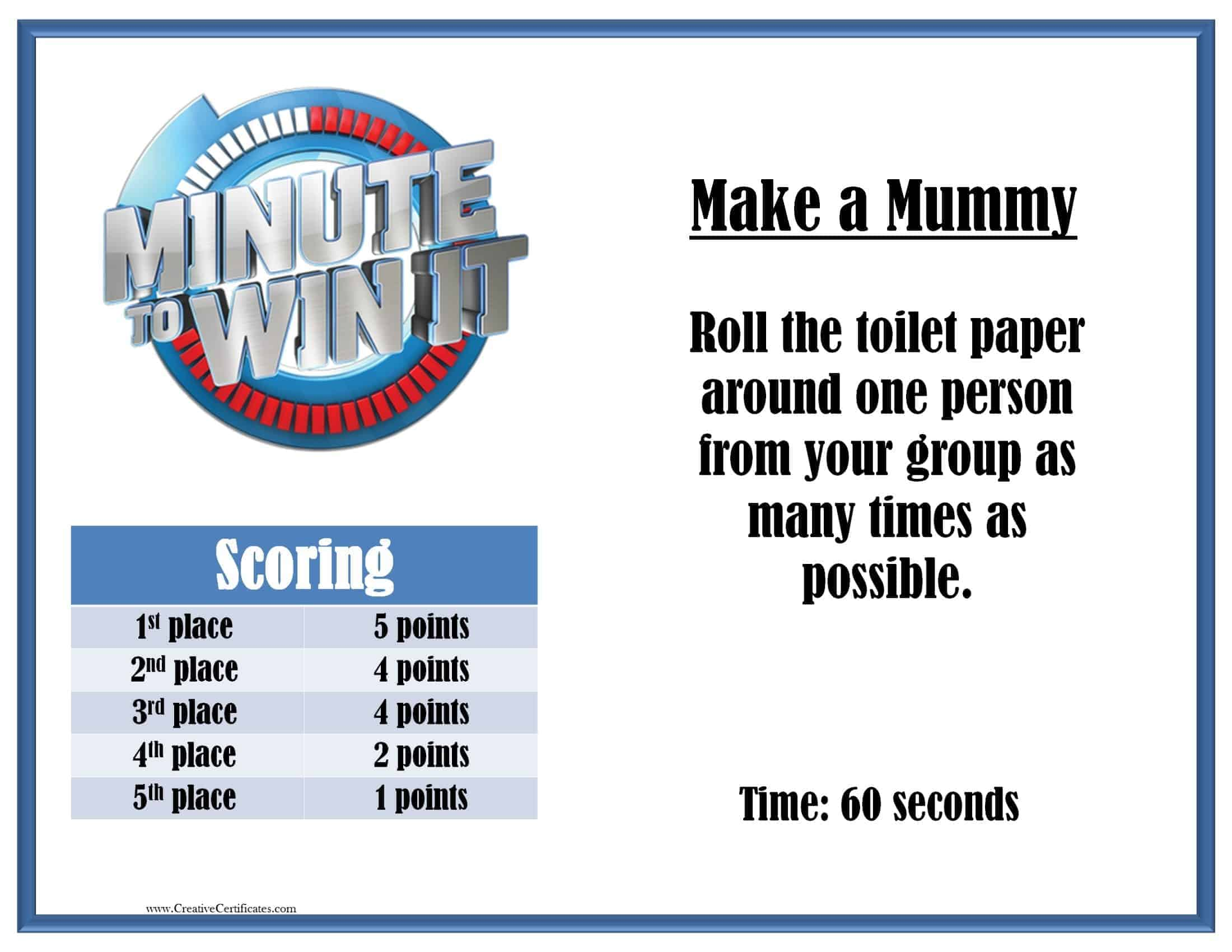 Minute to Win it Games - Free printables