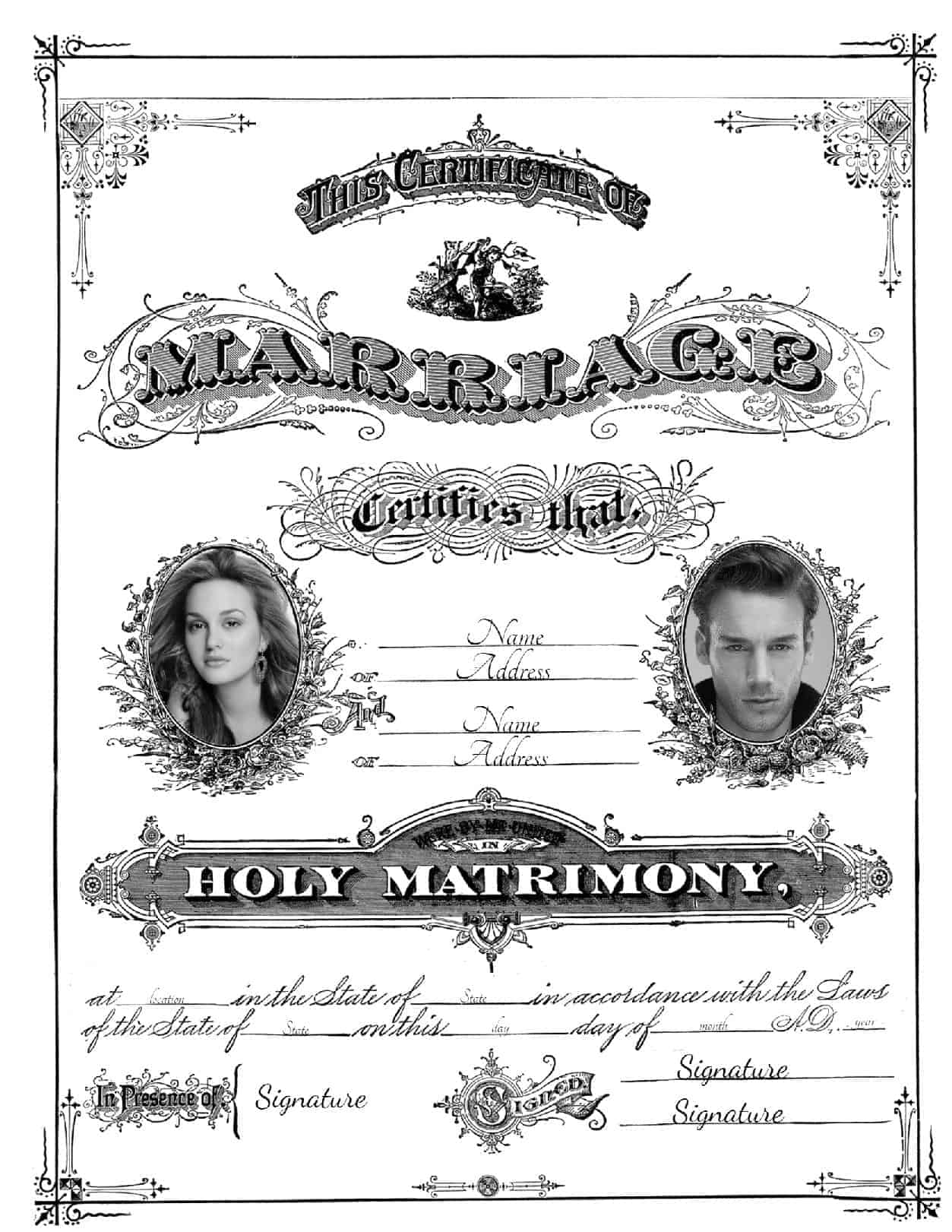 Free Marriage Certificate Template | Customize Online then Print