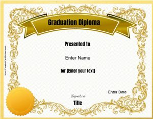 Fake diploma template