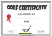 Golf Certificates