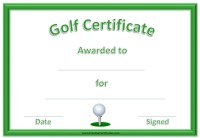 Golf award template
