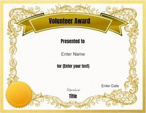 Award for Volunteers