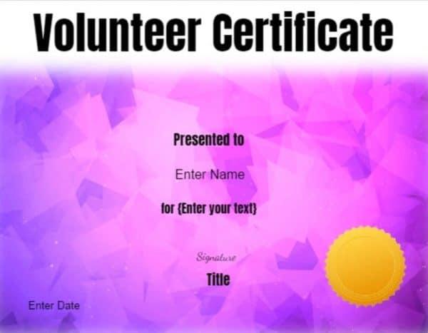 free printable volunteer certificates of appreciation