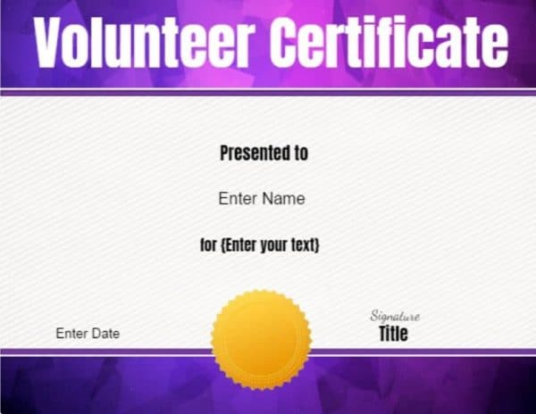 Volunteer Certificate Of Appreciation  Customize Online Then Print