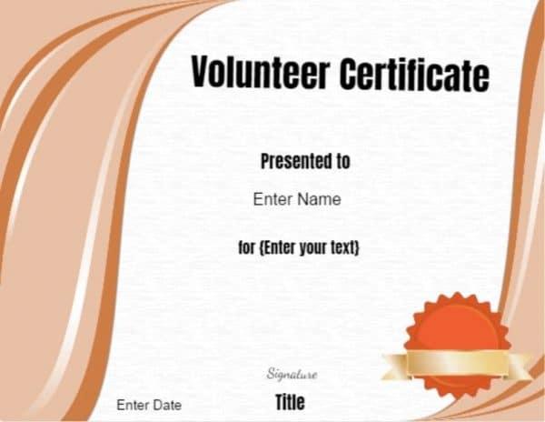 Volunteer Of The Year Certificate Template